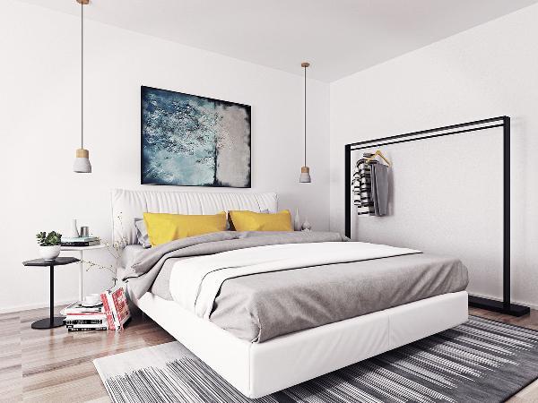 卧室的设计更加简单纯粹。主卧室里没有设计衣柜,只是放了一个简单的衣架,用来挂睡衣睡袍等。柔软舒适的大床两侧没有选择传统的床头柜,而是选择了业主喜欢的小边桌搭配