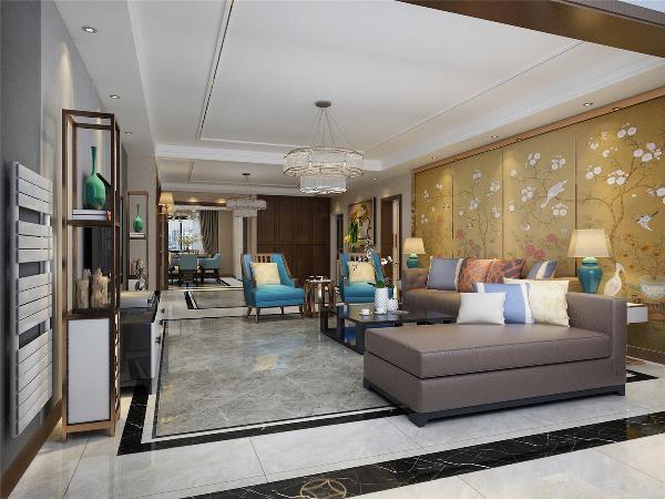 北京丰汇园小区168平米中式风格客厅 装修效果图---太原业之峰