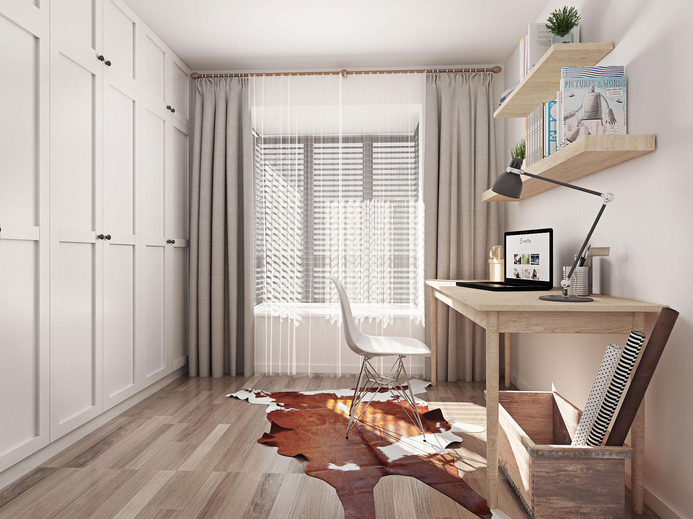 白色的衣柜搭配原木色书桌和书架,风格自然简约.