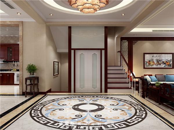 入户地面采用的是中西原色结合的大型拼花,整个空间显得更加的和谐,更加的体现衬托出别墅主人的身份。古人讲究天圆地方,拼花正是暗合了这个良好寓意。