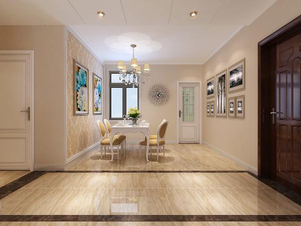 餐厅与过道通过设计吊顶与地面的石材纹理地砖铺贴的结合,合理划分空间。吊顶设计横向的两层石膏板开槽造型,拉伸人的整体视觉效果,使空间呈现出大视野,大空间的整体感。