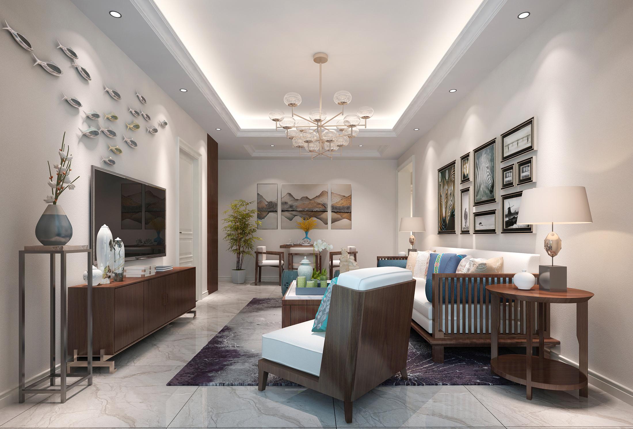 即洁白亮丽又不单调,在客厅与餐厅两处区域选择简洁的长方形灯带吊顶图片