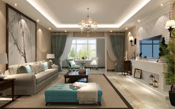 深胡桃的茶几和布艺的沙发将美式风格凸显的淋淋尽致,咖色的地毯让地面更有层次感,蓝绿色的椅子不带有一丝做作,展示出饱满的生命力。
