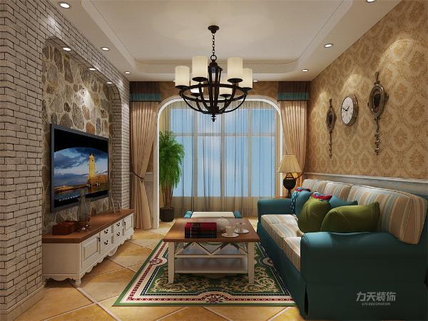 客餐厅部分采用护墙板浅黄色墙面,左侧为客厅区域,电视背景墙采用文化石做背景,白色石材墙纸,沙发背景选用大马士革壁纸做背景,沙发选用海蓝色,跳跃突出重点