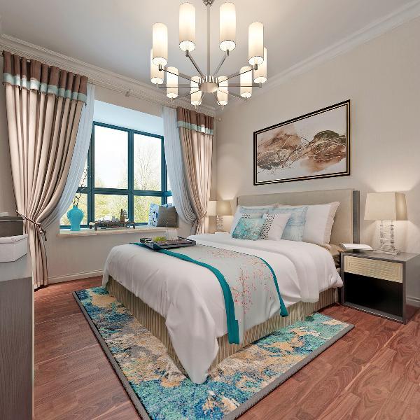 主卧室整体色调以暖色为主,地毯和床上软饰冷色点缀为辅。木色地板,浅米色的窗帘,简约的米色床。挂画相互呼应,墙面选用墙漆加上顶面石膏线让整个房间有了微小的色彩差别。更加的温馨舒适,
