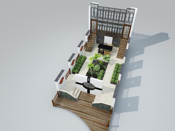 庭院按照中国对称理念设计
