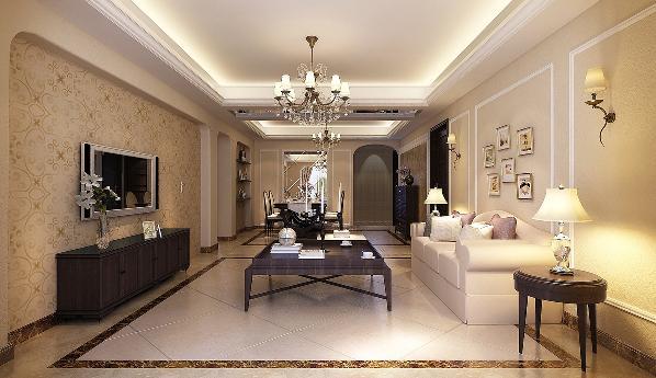 客厅的整体色调为米黄色和白色,整体颜色相对统一,但又不会显得重复、单一。