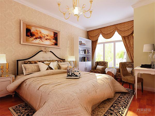 主卧的设计,采用石膏板回字形吊顶的造型方式,床头采用贴壁纸和挂画的方式使空间更加简洁舒适。