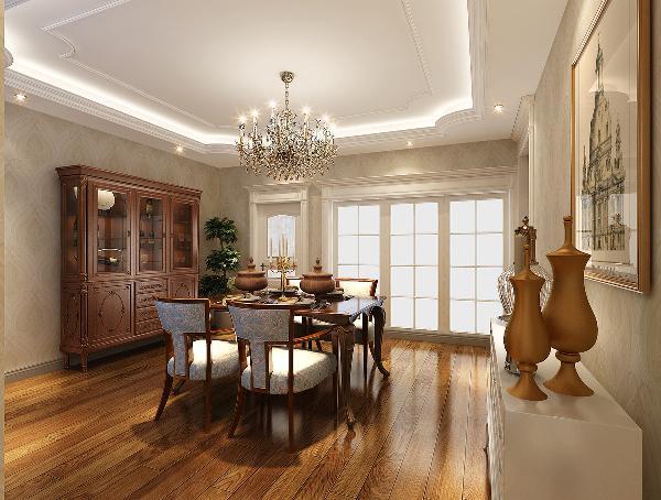 【餐厅】  餐厅主要以暖色调为主,而餐桌和餐边柜则是选用深色的多位辅助,使整个空间显得沉稳、古朴。