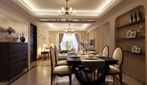 餐厅颜色与客厅同样主打米黄色,户型里两厅的空间视角通透,整体性上的主题颜色统一,餐厅摆放欧式餐桌、座椅。餐桌旁边的装饰隔板墙,五斗柜即装饰空间又具有实用性,满足业主对于餐厅的个性需求。