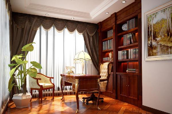 书房设计有着浓郁的欧式风情,墨绿色的窗帘点缀,使空间犹如一位风度翩翩的绅士,文雅而富有内涵。