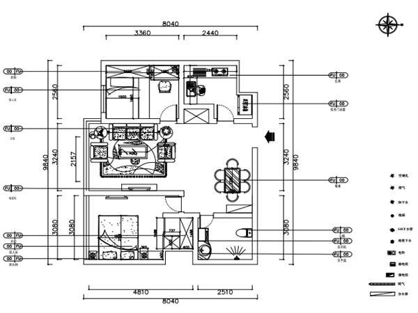 本户型为昆仑中心2室2厅1厨1卫 100㎡的中户型。户型布局规整,功能分区大体合理,整体采光适中,布局紧凑。首先从入户门进入,右手边是厨房,左手边是客餐厅,再往里面右手边是次卧