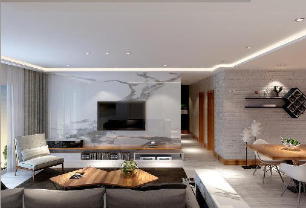 万科公园五号140m² 后现代 简约风格客厅装修案例