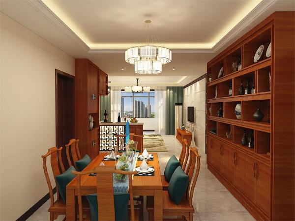 餐厅有自己独立的空间并且采用木质的餐桌椅凸显风格并且有酒柜的设置增添餐厅的高档程度