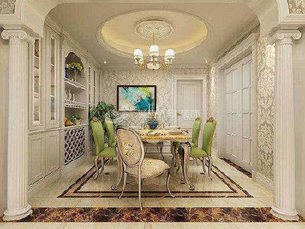 餐厅家居和壁纸、地砖的颜色实在太搭调了!