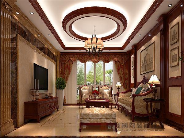 客厅空间以浅黄色为主色,交错使用棕、咖啡等配色,使空间色彩丰富,氛围温馨。