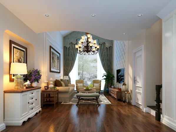 客厅的空间也不够规整,不太容易布置;从风水的角度来看,楼梯间位于房子的中间是很不合理,需要调整位置。我们看一层客厅把原来的楼梯移到入户门的后边位置,把客厅做成一个规整的空间。