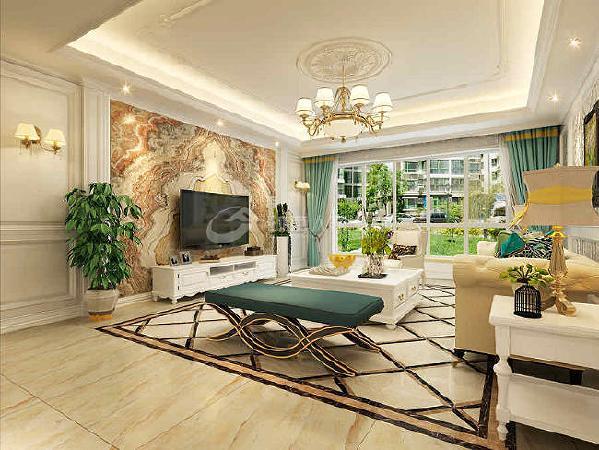 大理石材质电视墙、沙发背景华丽多彩的装饰画、多姿的曲线家具,让室内呈现出豪华、富丽而又温闻尔雅的感受。
