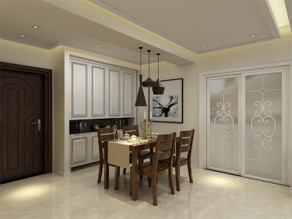 餐厅墙面整体以淡黄色为主,搭配南洋胡氏的家具,使空间简洁明亮的同时,突出了中式气息