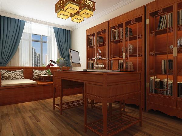 卧室和书房也应景的使用了罗汉床,木质书架衣柜等符合设计理念的家具。配饰使用精巧的工艺品和雅致的挂画,使整个居室在浓浓古韵中渗透了几许现代气息。