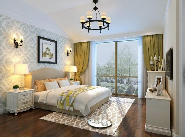 我们把结构调整后,再来看一下室内装修的风格。从一层客厅看,整体采用简约的欧式花线做装饰,背景墙上同样采用白色的简约欧式花线,配以米白相间的壁布,加上地面上整体深色地板,显得自然舒适,空间层次非常清晰。