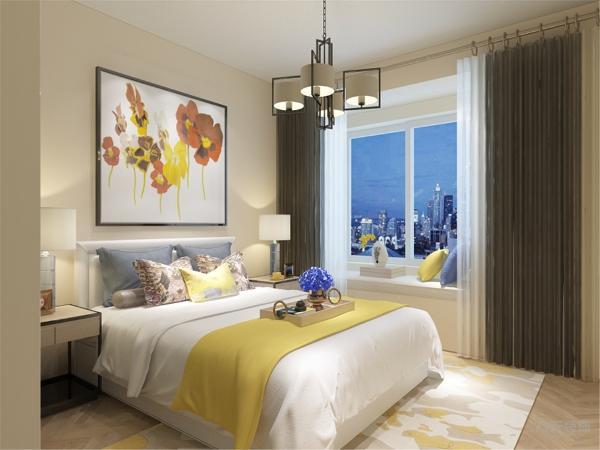 卧室的设计中,同样我们采用了木色的木地板与现代大挂画相结合,透明的衣柜配搭黄色系的双人床使偏冷色系的空间有了少许温暖和亲切,地板采用的是实木复合地板具有防滑的功效