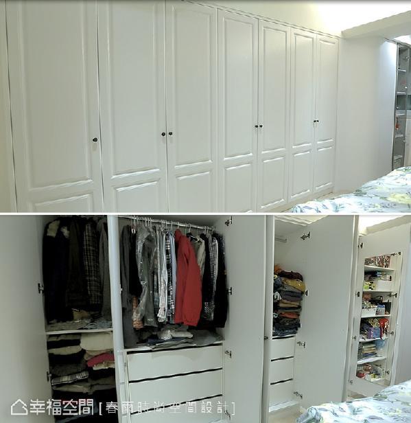 经由空间的调整后,主卧房多了一整排的衣柜,让生活收纳和使用上都更加便利。