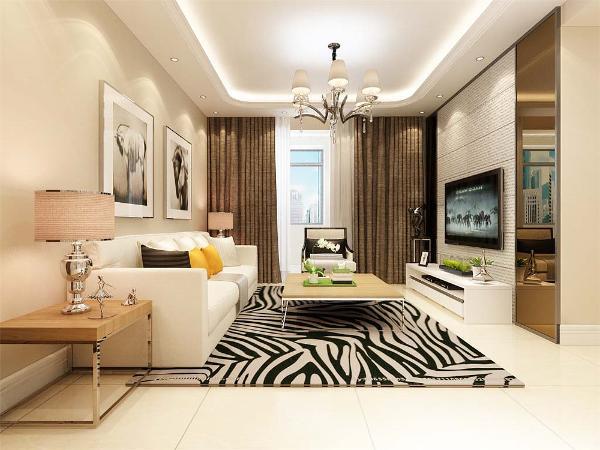 客厅永远是比较着重表现的,在电视背景墙的装饰上,我们采用极简的风格,运用壁纸来进行装饰,表现了一种现代气息感,沙发采用的是白色系列
