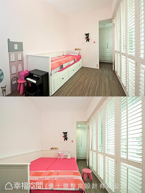 女孩房特意选用坐卧两用的子母床,提升空间使用频率,内部更隔出小更衣室供女孩储物藏衣,满足屋主收纳机能需求。