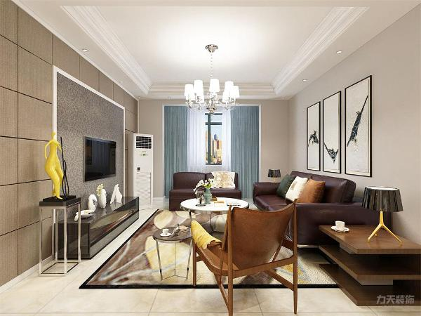 客厅电视背景墙的装饰上,我们采用简约的风格,运用壁纸和硬包来进行装饰,深灰色的硬包和深色壁纸搭配,表现了一种现代气息感,沙发采用的是深红色系列