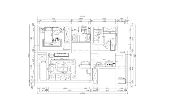 整个户型的布局,为规整的户型,从布局上相对来说比较合理,入户为玄关位置,右边鞋柜,前方为吧台位置。厨房与餐厅位置相邻,客厅位置占据着整个空间的视觉中心