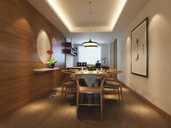 餐厅沿用客厅的装饰格调还是以木色的为主,餐厅一边的墙体设计成江南园林意境神似的结构,材质上使用的木质护墙板中空留白,对面的墙体还是使用白色乳胶漆形成鲜明的对比空间。