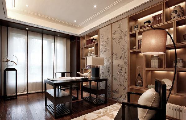 阳光城地产中式风格书房装修