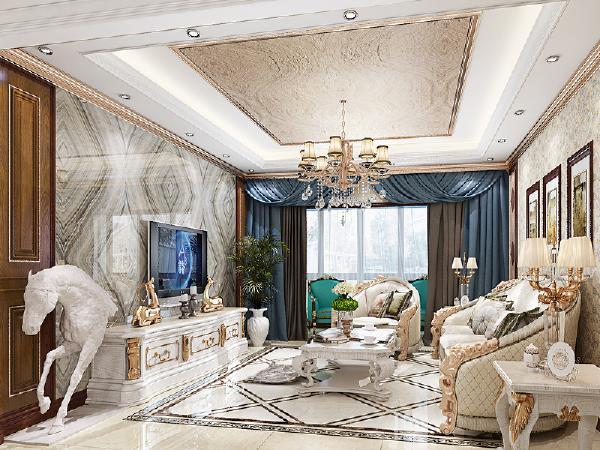 客厅的家具是暖暖的浅木色,如同柔和的阳光。配上简单的地面拼花,让客厅看上去有着阳光,有着变化。大理石、护墙板、硬包的墙面展示着奢华变化丰富。
