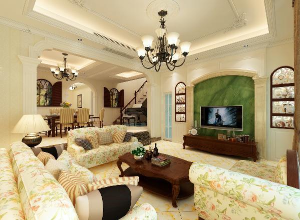 客厅电视背景墙和餐厅墙面分别做壁炉造型,上面的储藏柜加以镂空雕花装饰。漂亮的壁炉造型,镂空雕花装饰与优美的吊顶线条得到了完美的呼应,使得整个空间完美的融为一体。