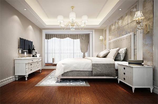 主卧原始空间较大,根据业主的需求做出地台式的休息区。卧室内床、床头柜、电视柜等家具都采用白色色调与周边暖灰壁布呼应,再加之顶部做灯带跌级吊顶、床头背景墙利用石膏板做边框造型与客厅造型形成呼应