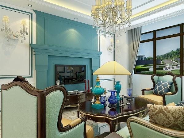 客厅通铺简欧大理石地砖。电视背景墙做了壁炉造型,左右两侧做了矩形平线。与沙发背景墙相呼应。整体以蓝白色为主。回字型吊顶外加顶角线。