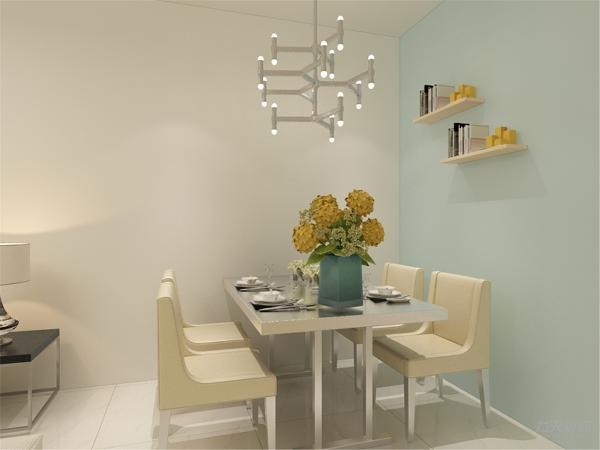 餐厅的设计中,采用了白色系的餐桌椅搭配天蓝色的墙面。白色和明亮玻璃的结合创造出了现代的洁净与明亮。