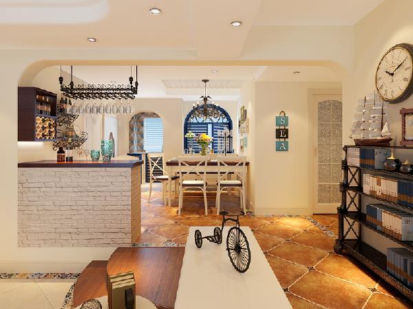 业主二人也比较年轻,希望家中有一些小格调,所以设计出吧台的区域,白色砖墙的感觉,餐桌的旁边设计了带有装饰性的弧形蓝色窗扇,奶白色与木色搭配的家具,呼应整体田园风格的感觉。