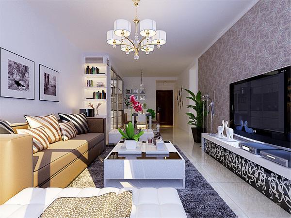 电视背景墙以深色壁纸做简单造型,加深整体的空间感,使空间划分明晰,层次感明显,客餐厅整体铺设米白色,整个空间看 上去干净明朗,厅融入到一起整体感觉更加协调。