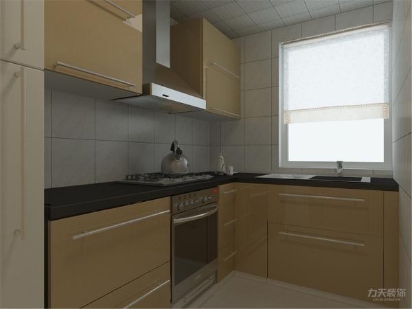厨房采光好,吊柜的设置也节省了一部分的储物空间