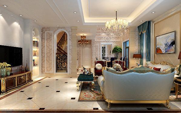 客厅以板色、米色为基本元素,拱形的门,线条的分割布局,形式上以浪漫主义为基础,用大理石、华丽多彩的织物、精美的地毯、多姿曲线的平安家具,让室内显示出豪华、富丽的特点,充满强烈的动感效果。