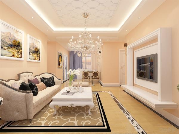 客餐厅墙面为浅黄色乳胶漆,温暖舒适。客厅中电视选择为挂式,沙发背景墙悬挂艺术照片,简单大方,极具装饰性。家具装饰以白色为主,客厅放置白色三人皮质欧式沙发,,一侧放置单人沙发与客厅电视柜方形茶几相呼应。