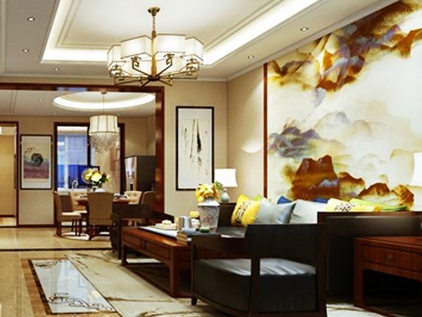 在设计色彩和手法上龙发装饰设计师运用的是中式典型的熟栗色为主色调,搭配整体大面的白色墙体。
