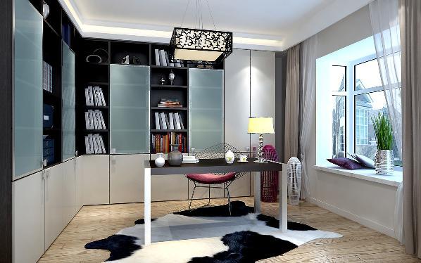 书房长形方桌可以满足两个人一起看书,层板可以放装饰品,让空间不因此而单调!