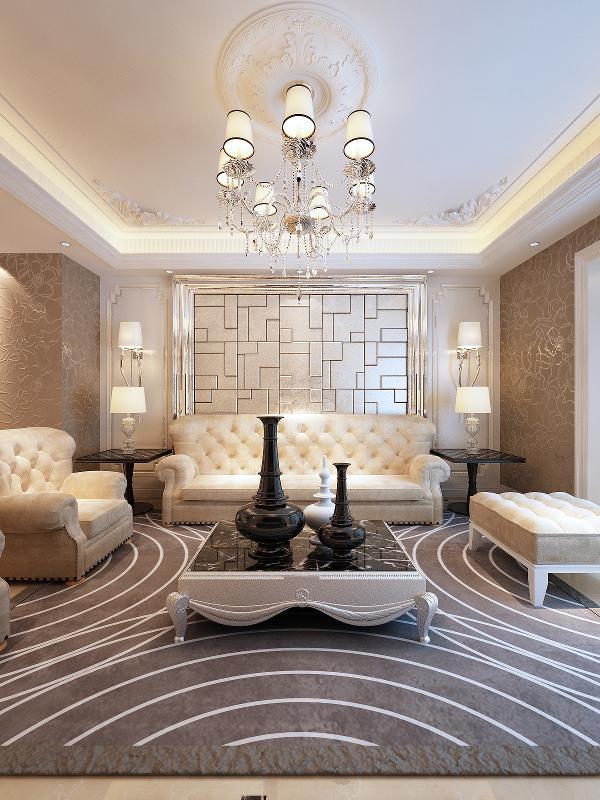 客厅的电视背景墙和沙发背景墙对应搭衬,从材质上突出主次,欧式家具让客厅散发着咖啡般的醇香