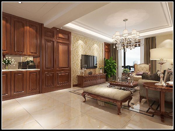 壁纸和护墙板的布局和结构讲究轴线的对称,注重整体的规整,强调了室内的简约和功能性