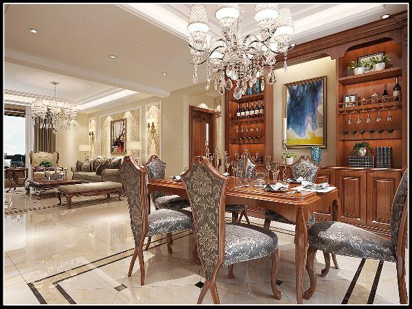餐厅以原木为主,壁面展示柜质感精细,跌级吊顶与地板上拼花呼应,使用餐环境与自然和谐