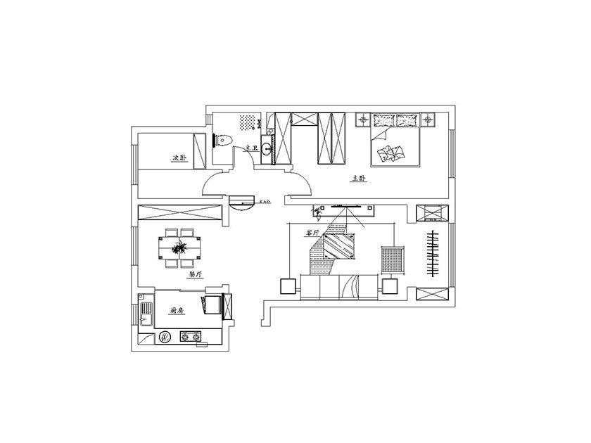 二居 实创 中式 白领 户型图图片来自快乐彩在二居室中式保利茉莉公馆112平的分享