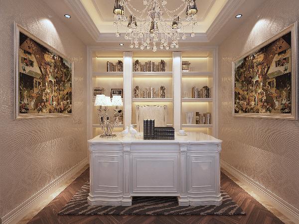 米色花纹壁纸带来空间的明亮色彩,与大书柜和白色描边书桌,相辅相成